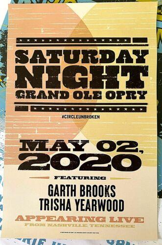 GARTH BROOKS Trisha Yearwood Grand Ole Opry Nashville TN 2020 Poster IN STOCK