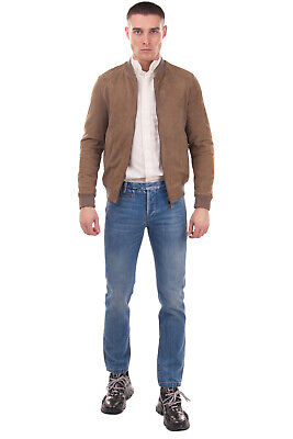 RRP €510 DANIELE ALESSANDRINI GREY Leather Bomber Jacket Size 46 S Made in Italy
