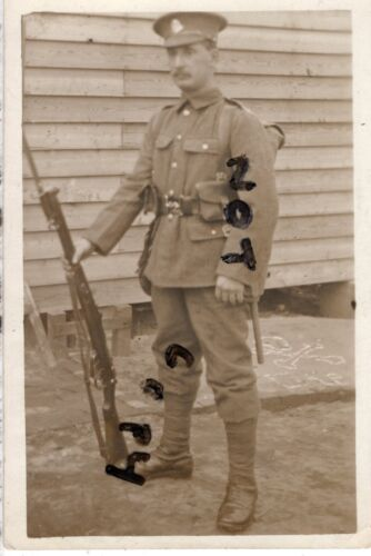 WW1 Pte Middlesex Regiment in battle order with Rifle
