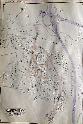 ORIGINAL 1939 BELCHER HYDE ATLAS MAP ALLEY POND PARK LITTLE NECK QUEENS NY