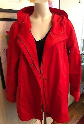 Eileen Fisher XL (L) Vibrant Orange Lava Stadium Jacket 58/42% Cotton Nylon Hood