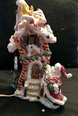 """Vtg,Ceramic Figurine,Santa/Charming Gingerbread house/electrical lights up, 10"""""""