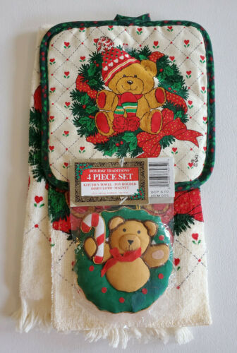 NOS VTG CHRISTMAS TEDDY BEAR HEARTS LINEN SET Saydah TOWEL WASHCLOTH HOT PAD