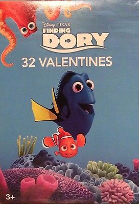 32 CHILDREN'S VALENTINES DAY CARDS Finding Dory Disney Pixar 2017 U.S.A.