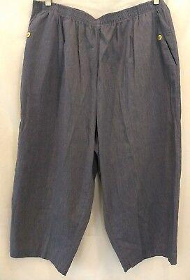 Cabin Creek Womens Blue Elastic Waist 2 Pocket Cropped Capris Pants 24 W, used for sale  Burkburnett