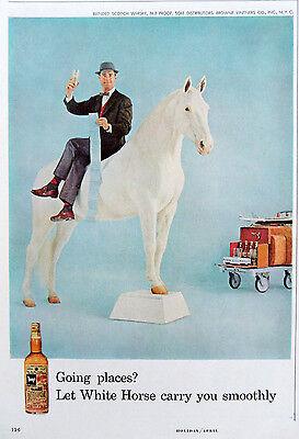 Vintage 1959 White Horse Scotch Whisky travel man advertisement print ad art