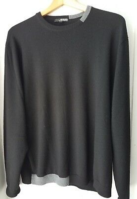 Black Men Sweaters - MURANO 100% Merino Wool  Men's Sweater Black with Gray accents  XL