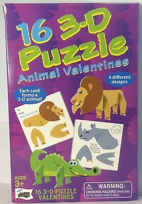 16 count 3-D Animal Puzzle Valentines 4 Different Designs