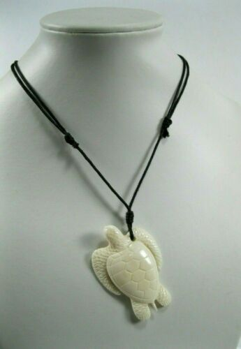 Hawaii Jewelry Turtle White Buffalo Bone Carved Pendant Necklace Choker