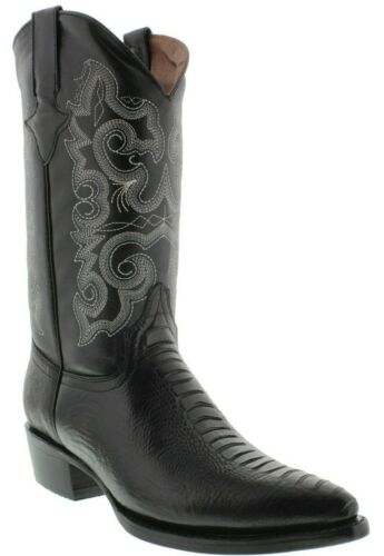 Mens, Black, Ostrich, Leg, Pattern, Genuine, Leather, Cowboy, Boots, J, Toe, Rodeo, Western
