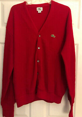 IZOD Orlon Lacoste Red Cardigan Men's Large Button Front Vintage V-Neck Sweater