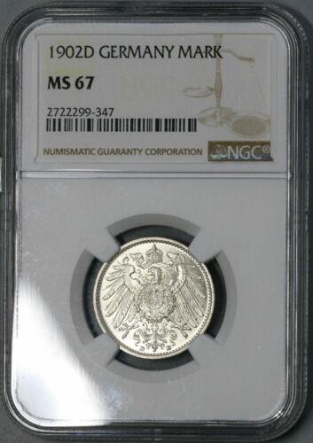 1902 D GERMAN EMPIRE  1 MARK NGC MS 67 TOP POP
