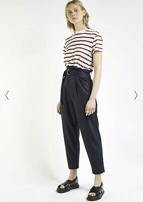 Harmony Paris Vintage Inspired Stripe High Waist Italian Wool Trousers. Size 36