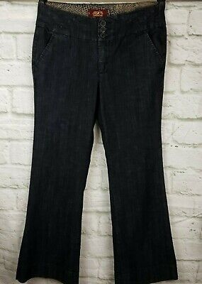 One 5 One Authentic Denim Women's Jeans Size 12 Trouser Style Boot Cut Dark Wash Denim Trouser Style Jeans