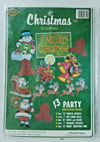 1983 Beistle Christmas Decorama 13 Decorations New In Packaging