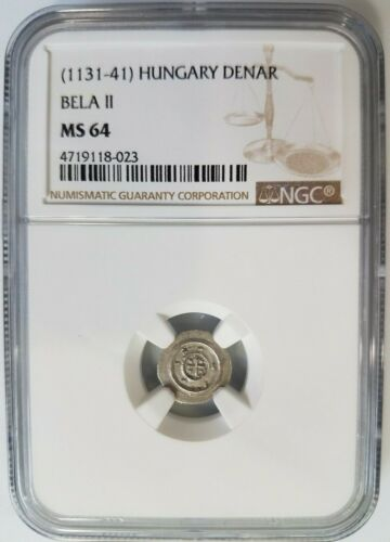King Bela II of HUNGARY NGC MS 64 1131-1141 Béla the Blind Silver Denar Coin