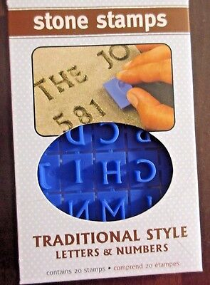Letters & Numbers Stepping Stone Stamps Traditional Style New ABC's Plastic #jj