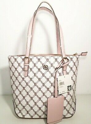 Anne Klein White / Pink Lily Logo Tote Bag Handbag With ID Holder Tag New