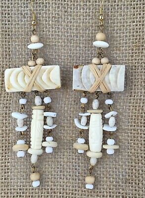 "Long White 4.5"" EARRINGS Carved Bovine Bone Shell Wood Pierced Hook Dangle"