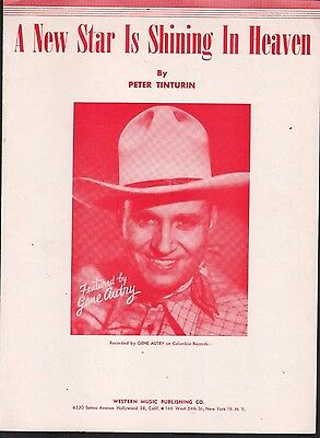 A New Star Is Shining In Heaven 1950 Thanksgiving Gene Autry Sheet Music