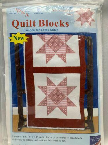 "JDBA 732-980 Gingham Star Quilt Blocks Stamped Cross Stitch 18"" x 18"" NEW"