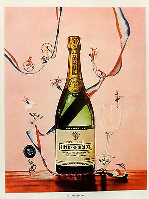 Vintage 1957 Piper Heidsieck Brut Champagne advertisement print ad art