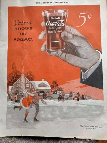 "Org 1928 Vintage Coke Coca Cola Soda Magazine Ad ""Thirst Knows No Season"""