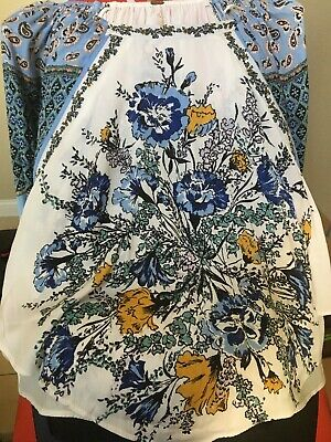 FREE PEOPLE womens sz XS   floral  boho off shoulder blouse