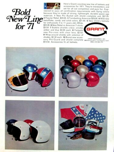 1971 Grant Helmets Bold New Line For 71 Original Print Ad 8.5 x 11