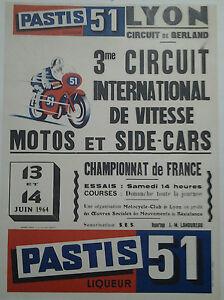 affiche ancienne circuit gerland lyon motos side cars1964 pastis 51 ebay. Black Bedroom Furniture Sets. Home Design Ideas