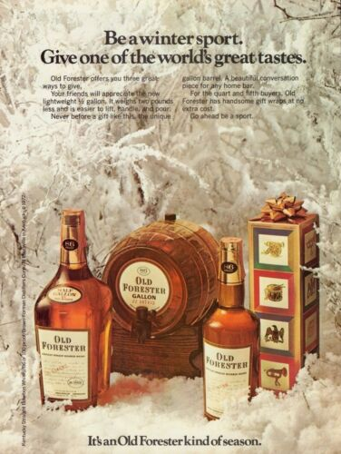 1972 Old Forester Bourbon Whisky Gallon Barrel & Bottles Christmas Print Ad