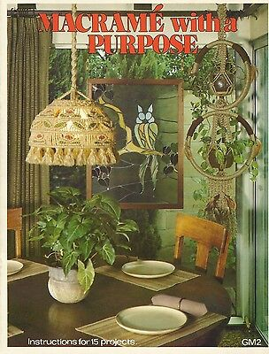 Macrame With A Purpose Becky Short Vintage Pattern Book 1977 Curtain Lamp Wall