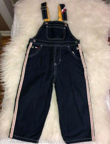 Vintage TOMMY JEANS Boys Toddler Navy White 100% Cotton Bib Overall Pants Sz 3T