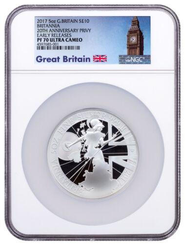 2017 Britain 5 oz Proof Silver Britannia Trident NGC PF70 UC ER Big Ben SKU49189