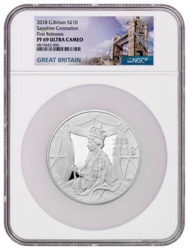 2018 Great Britain Sapphire Coronation 5 oz Silver NGC PF69 UC FR W/Box SKU54198