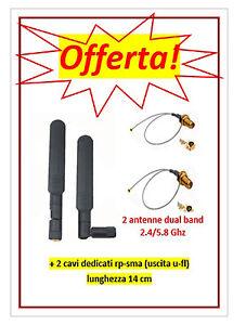 Antenne 5dBi Dual Band 2.4/5.8GHz wifi (due pezzi cablaggio) - Italia - Antenne 5dBi Dual Band 2.4/5.8GHz wifi (due pezzi cablaggio) - Italia