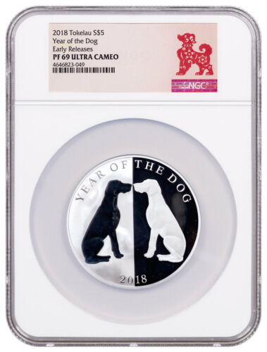 2018 Tokelau Year of Dog Mirror Dog 1 oz Silver Lunar $5 NGC PF69 Early Releases