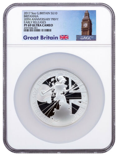 2017 Britain 5 oz Proof Silver Britannia Trident NGC PF69 UC ER Big Ben SKU49188