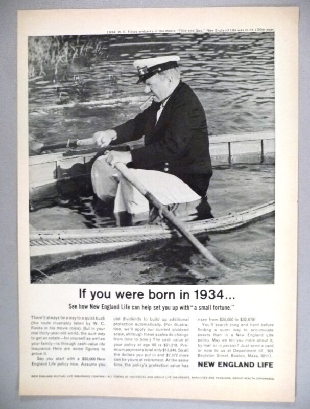 New England Life Insurance PRINT AD - 1964 ~~ W.C. Fields in sinking boat