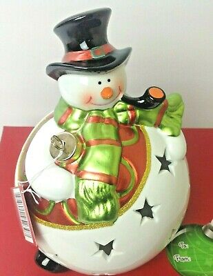 QVC Home Reflections Snowman Christmas Luminary w/ Flameless Candle & Timer