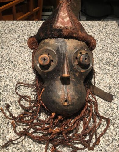 Large Kuba Mask Carved Wood and Raffia African Art