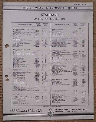 "Standard 20hp ""B"" model 1938   Lucas Parts List 329  Others available"