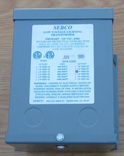 SEBCO 250 watts  LOW VOLAGE LIGHTING TRANSFORMER 1025-24 V# FAST FREE SHIPPING #