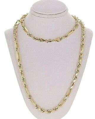 """14k Yellow Gold Solid Milano Diamond Cut Rope Chain Necklace 24"""" 6mm 51.5 grams"""