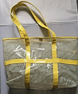 Huge NINA RICCI Frosted Clear & Yellow Plastic Tote Bag Beach Bag. -