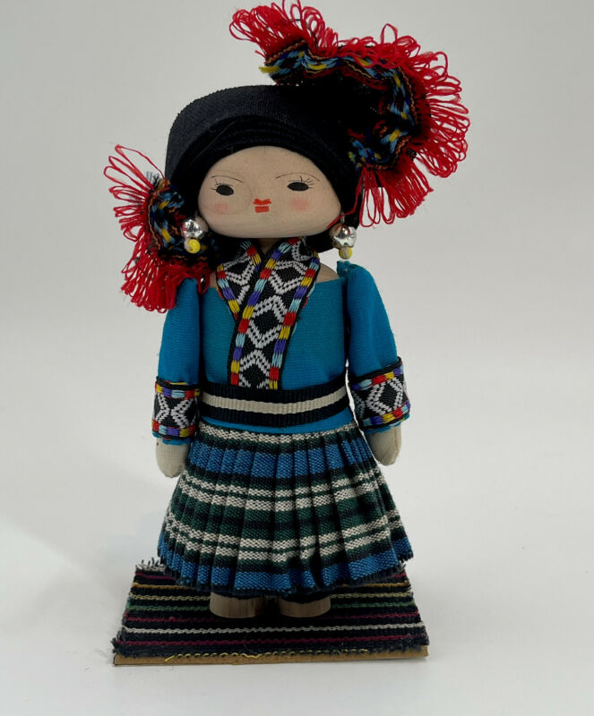 """Vintage Chinese Handmade Collectible Miniature Wooden Doll Size 6"""" Tall"""
