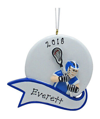 PERSONALIZED Boy Lacrosse Player Sports Christmas Tree Ornament Holiday Gift ()