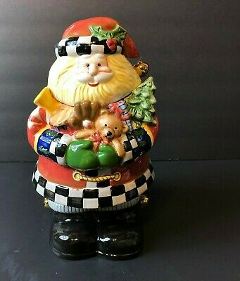 Vintage Santa Cookie Jar Hand Painted Ceramic By ATICO Collectors Christmas