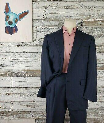 Hickey Freeman Mens Boardroom Suit Loro Piana Tasmanian Super 120s 42R Pants 35