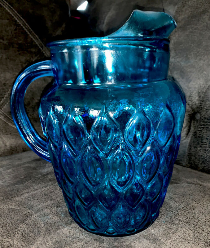 "Vintage Blue Aqua Glass Teardrop Pattern 10"" Pitcher With Applied Glass Handle"